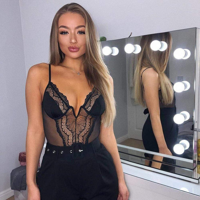 Kinky Cloth Deep V Lace Bodysuit