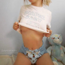 Kinky Cloth Top Crop Top - S / White/ Pink Font Diaper Baby Flower Top