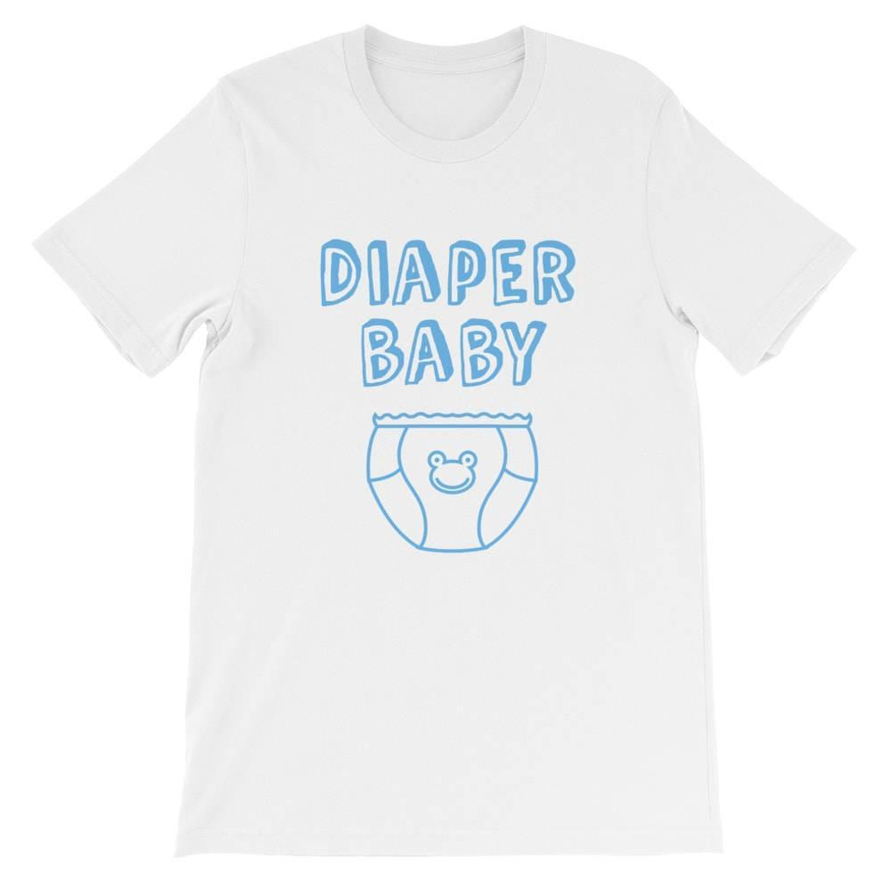 Kinky Cloth Top Crop Top - S / White/ Blue Font Diaper Baby Frog Top