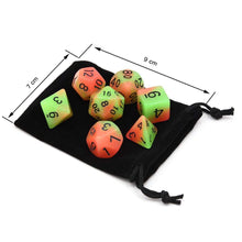 Kinky Cloth DND Dice Set Glow in the Dark with Travel Bag