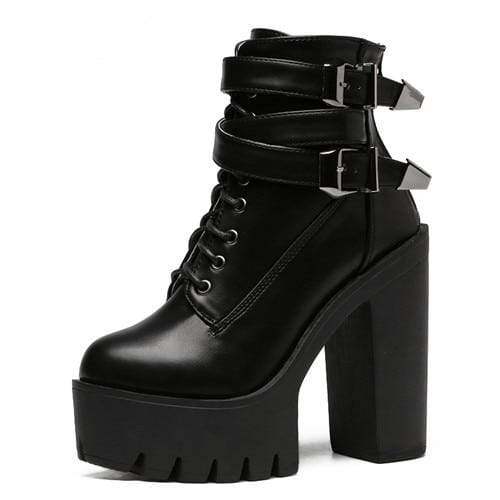 Kinky Cloth 200000998 Black / 10 Double Buckle High Heel Platform Boots