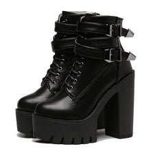 Kinky Cloth 200000998 Double Buckle High Heel Platform Boots