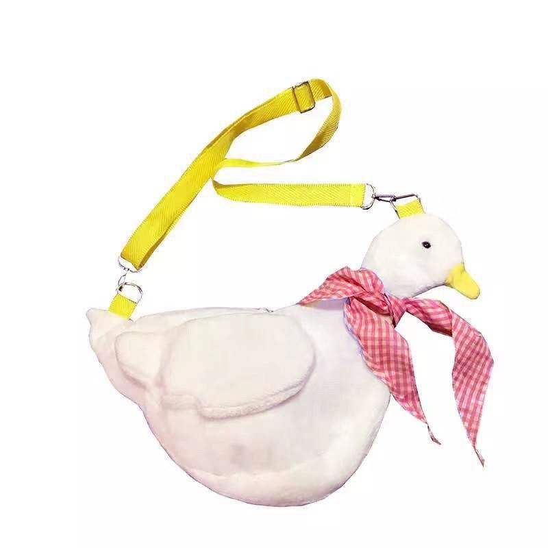 Kinky Cloth 200001420 White-Red Checkered Duck Plush Crossbody Bag
