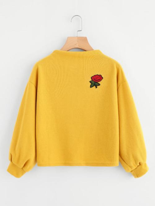 Celeste Top L Embroidered Rose Sweatshirt