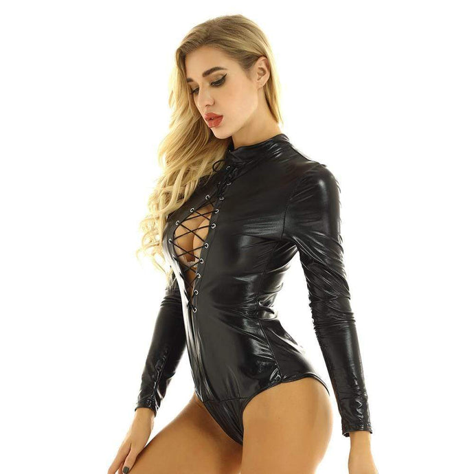 Kinky Cloth 200001800 Front Lace-Up Long Sleeve Bodysuit