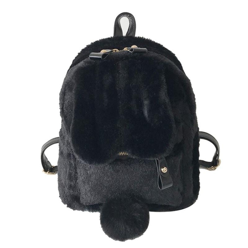 Kinky Cloth Bags & Wallets Black Fuzzy Bunny Backpack