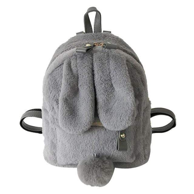 Kinky Cloth Bags & Wallets Grey Fuzzy Bunny Backpack