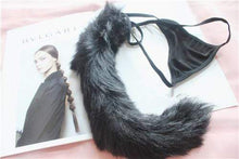 Kinky Cloth Fox tail Black / One Size Fuzzy Tail Thongs