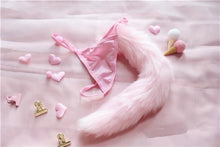 Kinky Cloth Fox tail Pink / One Size Fuzzy Tail Thongs