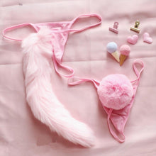 Kinky Cloth Rabbit tail Pink / One Size Fuzzy Tail Thongs