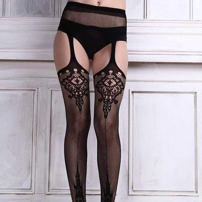 Kinky Cloth Socks Garter Lace Tights