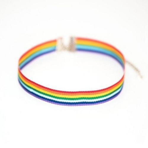 Gay Pride LGBT Rainbow Choker at Kinky Cloth