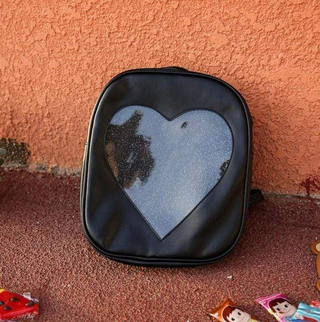 Kinky Cloth backpack Black Glitter Heart Jelly Backpack