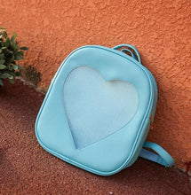 Kinky Cloth backpack Sky Blue Glitter Heart Jelly Backpack