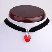 Kinky Cloth Necklace red Gothic Heart Gem Choker