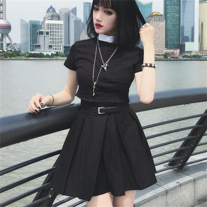 Kinky Cloth Skirt Gothic High Waist Pleated Skirt