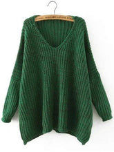 Celeste Women's Clothing one-size Green V Neck Batwing Sweater