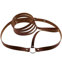 Kinky Cloth Harnesses brown Halter Throat Harness