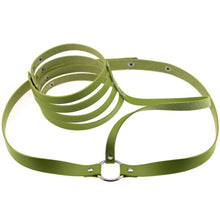 Kinky Cloth Harnesses green Halter Throat Harness