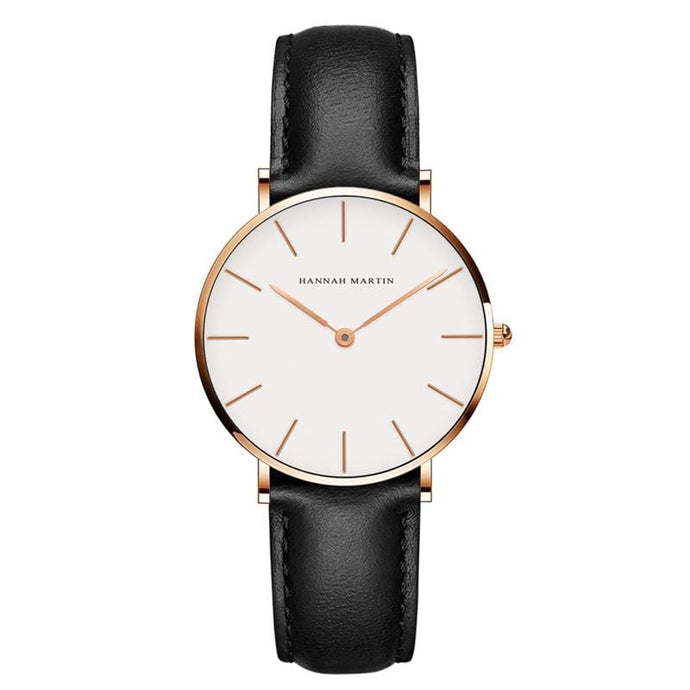 Kinky Cloth 200363144 Rose Gold - Black Strap Hannah Martin Classic Dial Leather Watch