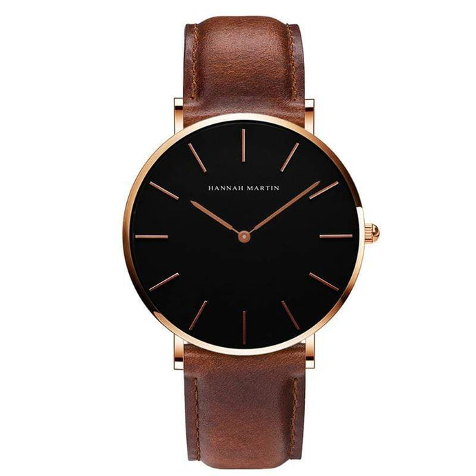 Kinky Cloth 200363144 Rose Gold - Brown Strap Black Dial Hannah Martin Large Dial Leather Watch