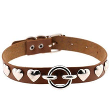 Kinky Cloth Necklace brown Heart Stud Collar