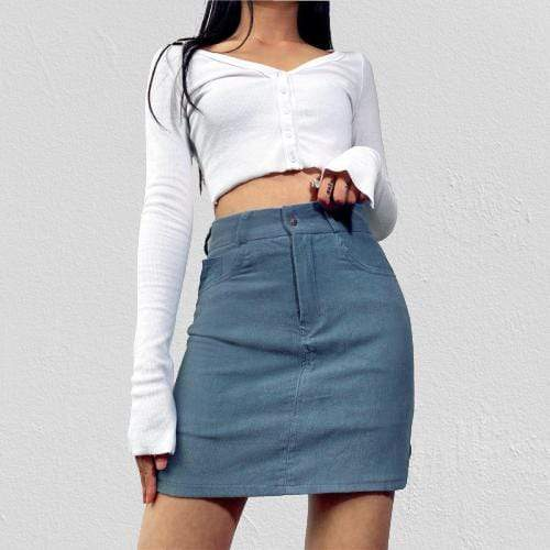 Kinky Cloth 349 High Waist Pencil Cut Corduroy Skirt