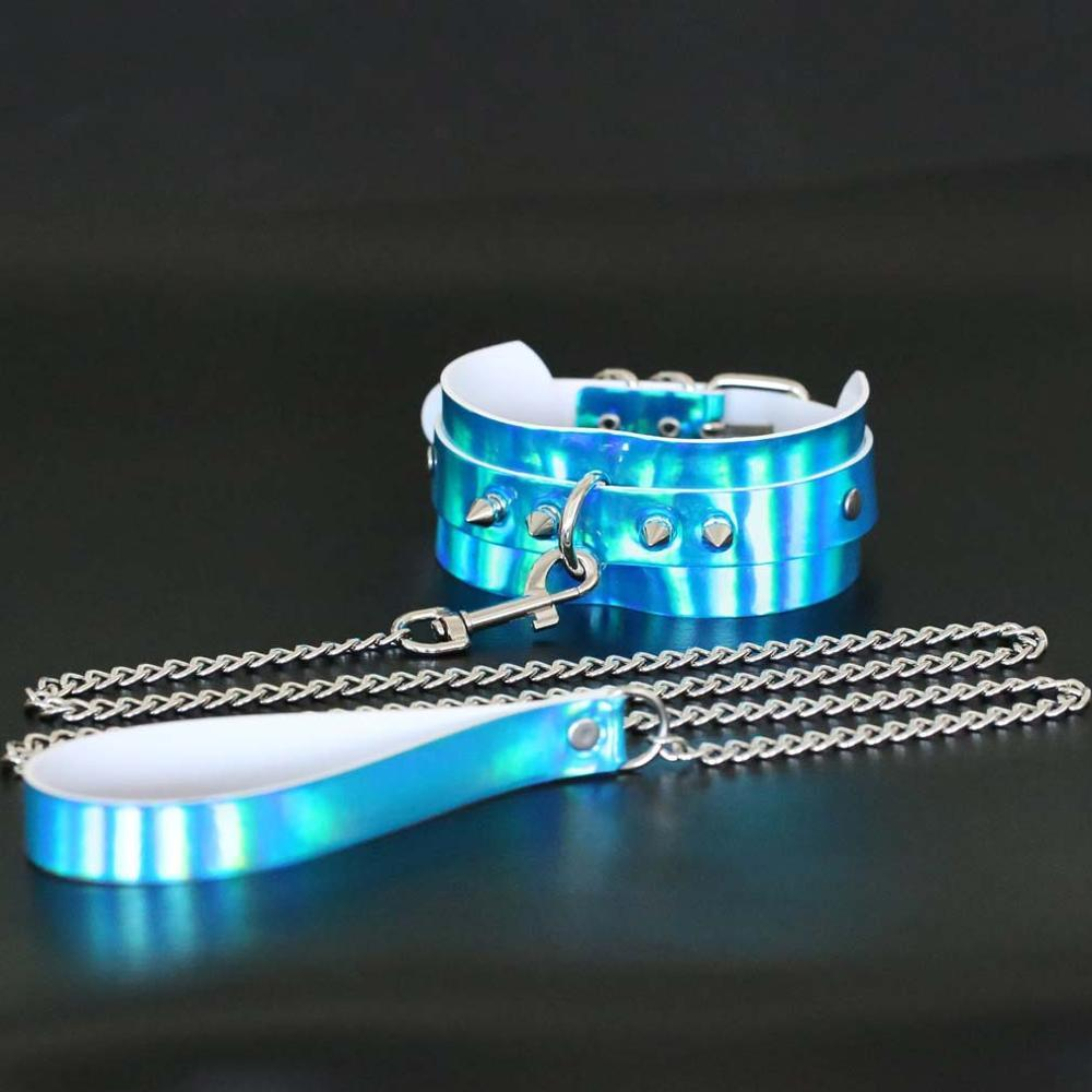Kinky Cloth Necklace Blue Holographic Collar and Leash
