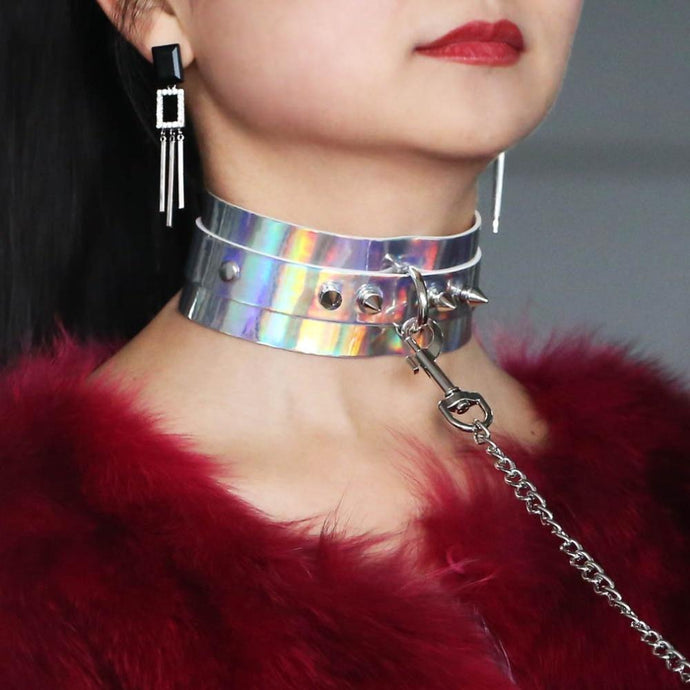 Kinky Cloth Necklace Holographic Collar and Leash