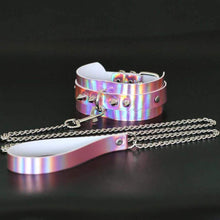 Kinky Cloth Necklace Pink Holographic Collar and Leash