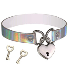 Kinky Cloth blue Holographic Heart Lock Collar
