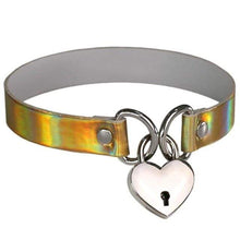 Kinky Cloth gold Holographic Heart Lock Collar
