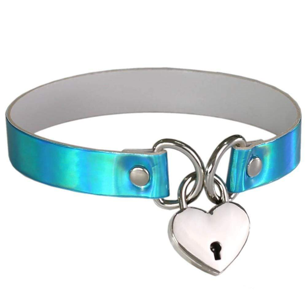 Kinky Cloth Necklace blue Holographic Heart Lock Collar