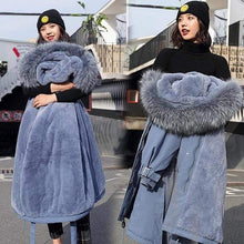 Load image into Gallery viewer, Kinky Cloth Jacket Blue / XXL Hooded Fur Long Jacket