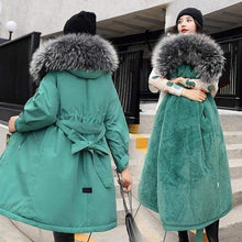 Kinky Cloth Jacket Green / XXL Hooded Fur Long Jacket