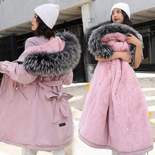 Kinky Cloth Jacket Pink / L Hooded Fur Long Jacket