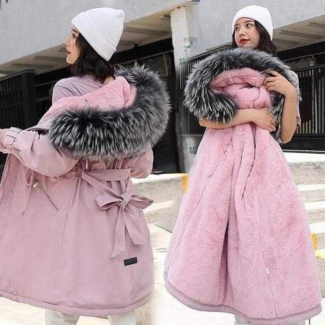 Kinky Cloth Jacket Pink / XXL Hooded Fur Long Jacket