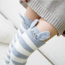 Kinky Cloth Socks Blue / One Size Kawaii Fuzzy Animal Thigh High Socks