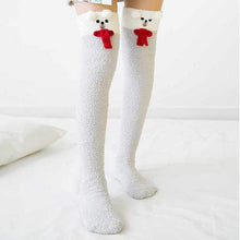 Kinky Cloth Socks Ivory / One Size Kawaii Fuzzy Animal Thigh High Socks