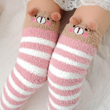Kinky Cloth Socks Pink / One Size Kawaii Fuzzy Animal Thigh High Socks
