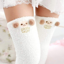 Kinky Cloth Socks White / One Size Kawaii Fuzzy Animal Thigh High Socks