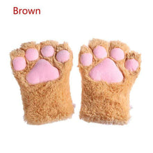 Load image into Gallery viewer, Kinky Cloth Brown / One Size Kitten Paw Gloves