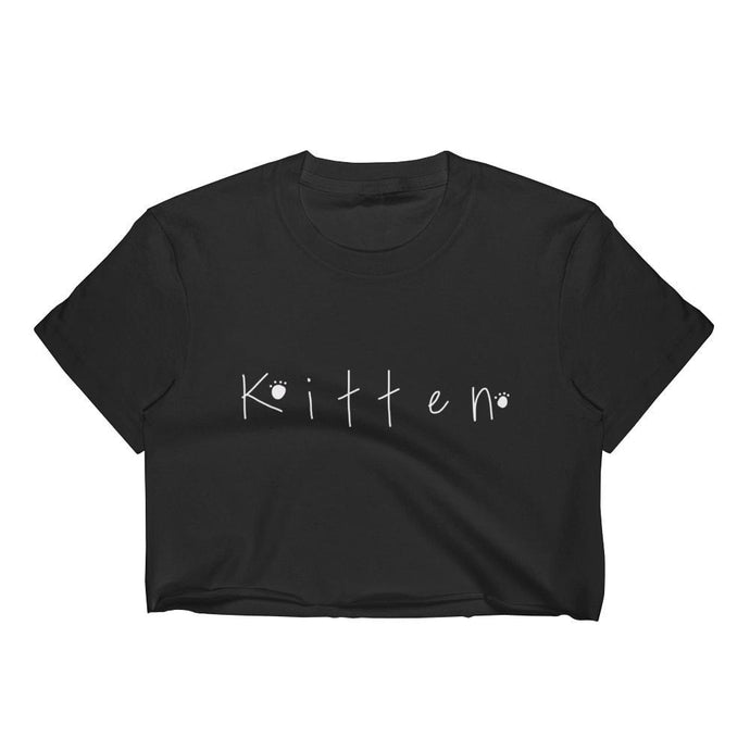 Kinky Cloth Top Crop Top - S / White/ Black Font Kitten Paw Prints Top