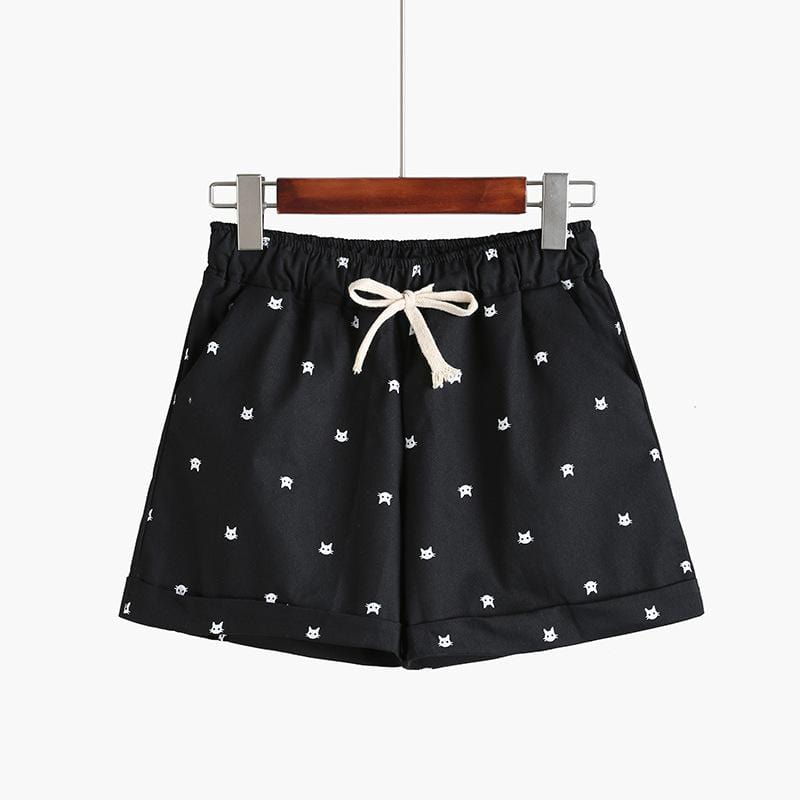 Kinky Cloth Shorts Black / One Size Kitty Print Pastel Shorts