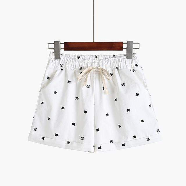 Kinky Cloth White / One Size Kitty Print Pastel Shorts