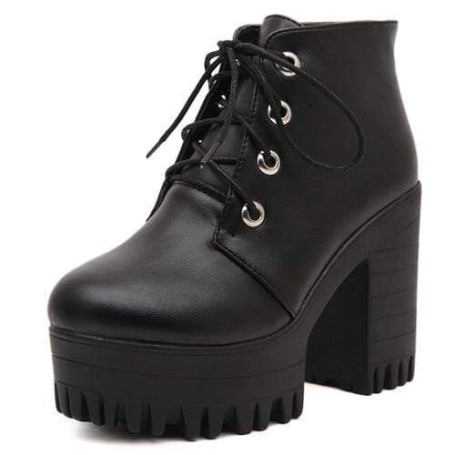 Kinky Cloth 200000998 Black / 4.5 Lace Up Platform Ankle Boots