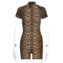 Kinky Cloth 201235002 Leopard / L Leopard Print Zipper Playsuit