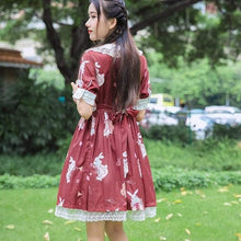 Load image into Gallery viewer, Kinky Cloth Red Long Sleeves / S Lolita Bunny Dress