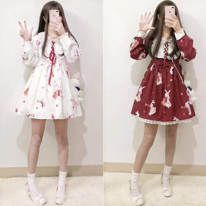 Kinky Cloth Red Long Sleeves / S Lolita Bunny Dress