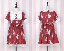 Load image into Gallery viewer, Kinky Cloth Red Short Sleeves / S Lolita Bunny Dress